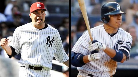 Alfredo Aceves y Ramiro Peña de Yankees de Nueva York