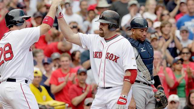 Adrián González y Kevin Youkilis de Medias Rojas de Boston