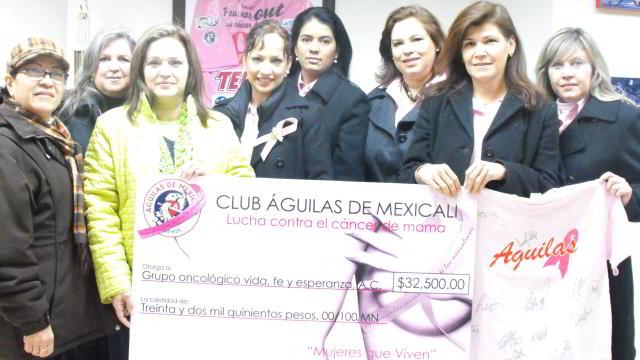 Águilas de Mexicali entregan donativo para la lucha vs el Cáncer de Mama