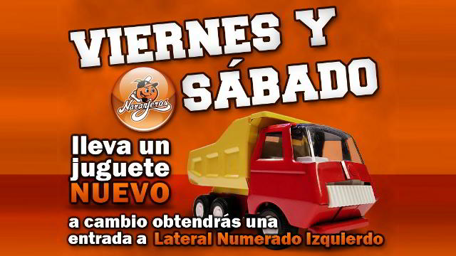 Campaña de Naranjeros de Hermosillo de regalo de juguetes para niños de escasos recursos