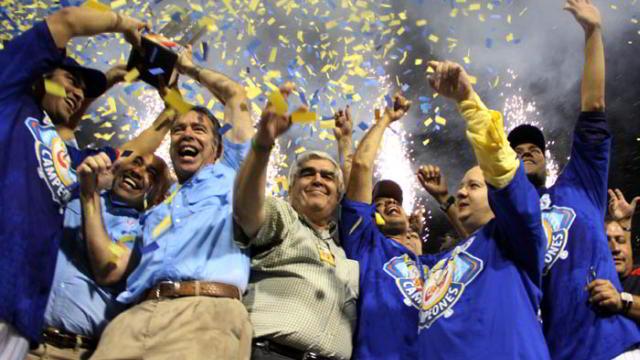 Tigres de Aragua celebrando el campeonato en Venezuela