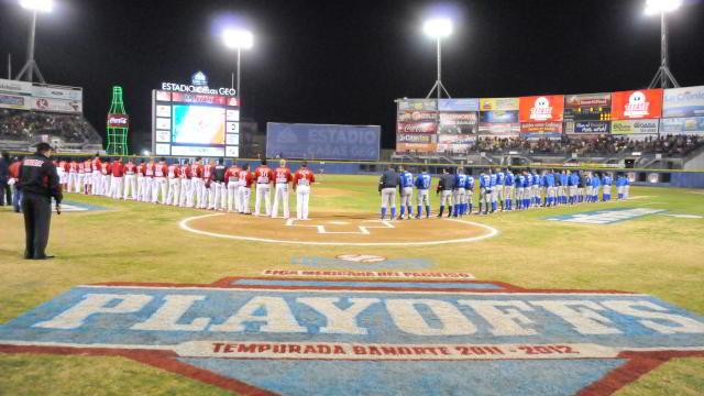 Ceremonia previa a la semifinal entre Yaquis de Ciudad Obregón y Águilas de Mexicali