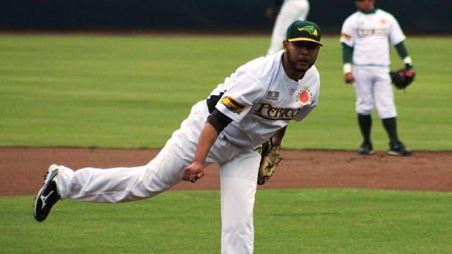 Andrés Meza, pitcher de Pericos de Puebla ante Acereros